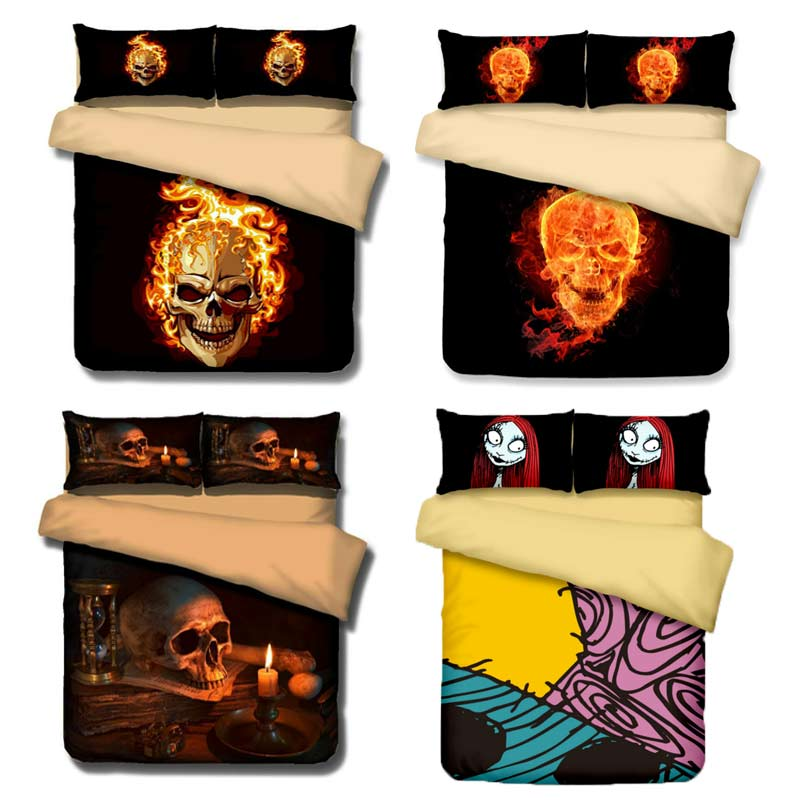 3D skull fire bedding nightmare before christmas Qualified Bedclothes bed linen Design No Fading Duvet Cover Twin Full Queen
