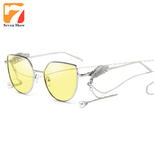61ae0b3bb5 Fashion Cat Eye Sunglasses Men Women Brand Designer Wings Yellow Sun Glasses  Female Shades Clear Lens Glasses Frame Zonnebril
