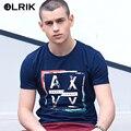 Olrik 2016 nova moda verão camisa dos homens t de fitness o - pescoço de algodão confortável t - shirt dos homens da marca tshirts de roupas