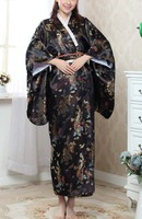 NEW Black Fashion Japanese Women's Kimono Evening Dress Free Shipping Wholesale and Retail one size H021