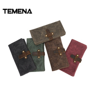 Temena New Brand Vintage Canvas Wallets Handmade Retro Multipurpose Coin Purse Wallet Long Wallet Male Canvas