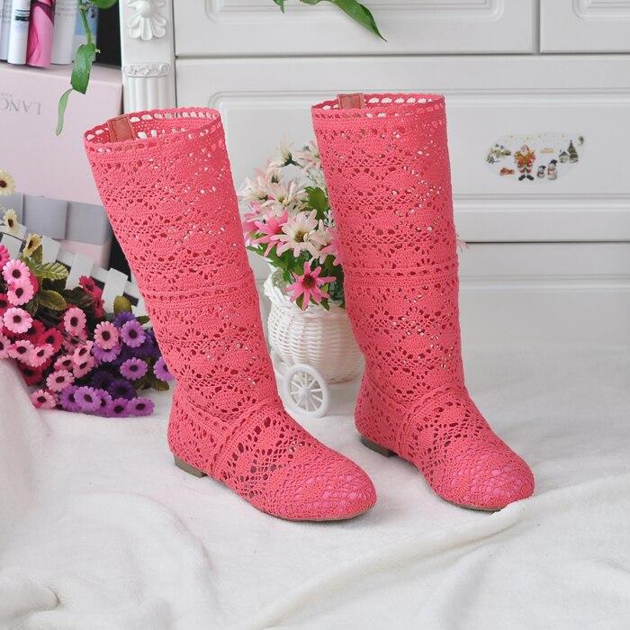 2018 botas huecas zapatos transpirables línea de punto malla Coreana de verano alto botas de mujer hasta la rodilla zapatos de mujer