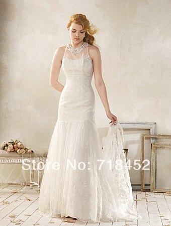 2014 modest vaina beach wedding dresses atado al cuello de encaje