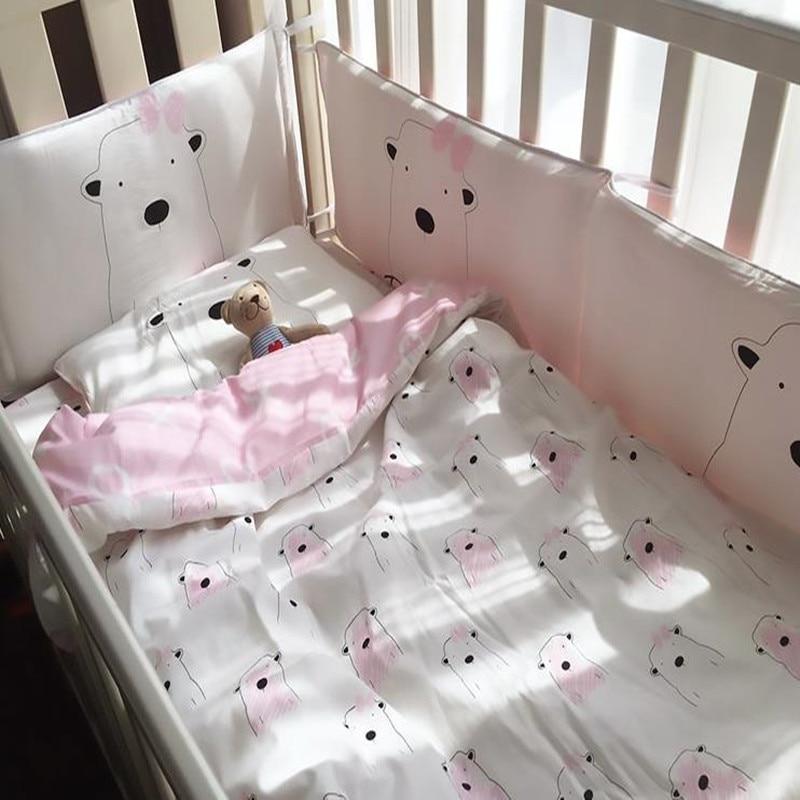 3Pcs / Set Bayi Bayi Set Peralatan Lembut 100% Cotton Twill Cartoon Whale Quilt Bed Sheet Bantal Bayi Tempat Tidur Set Untuk Gadis