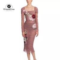 Платье с вышивкой конструкции Лето 2018 Для женщин Сетчатое платье для Для женщин известный Брендовое платье 2018