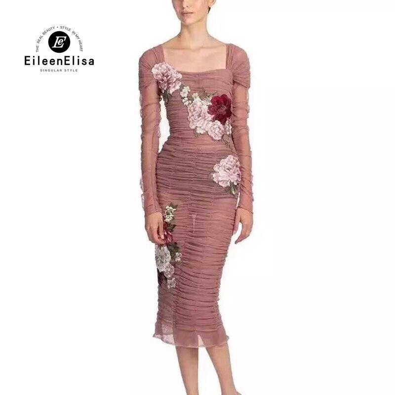 Femmes 2018 Célèbre As Pour D'été Mesh Vêtements Marque Broderie Des Pics De Modèles Robe ZcgCYRqT