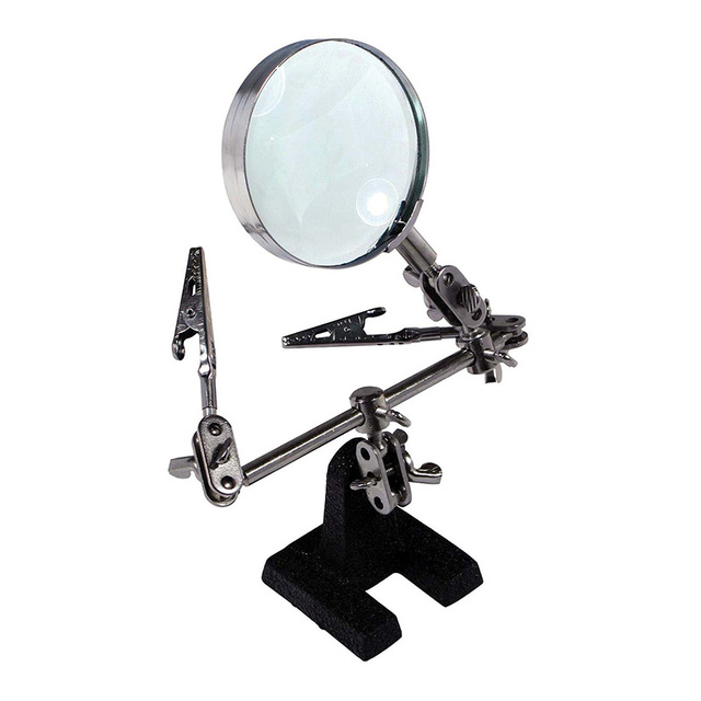 8X Magnifier Soldering Iron Stand Helping Clamp Vise Clip Magnifying Glass Tool With Color Box Package