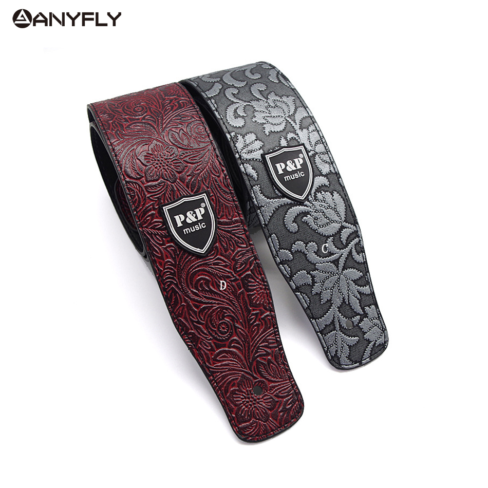 PU leather Embossed Guitar Strap Electric Guitar Acoustic Guitar Folk Guitar Bass Strap