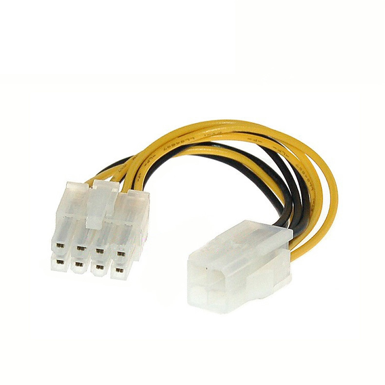 4 Pin Male to 8 Pin <font><b>CPU</b></font> Power Supply <font><b>Adapter</b></font> Converter ATX Cable 12V image
