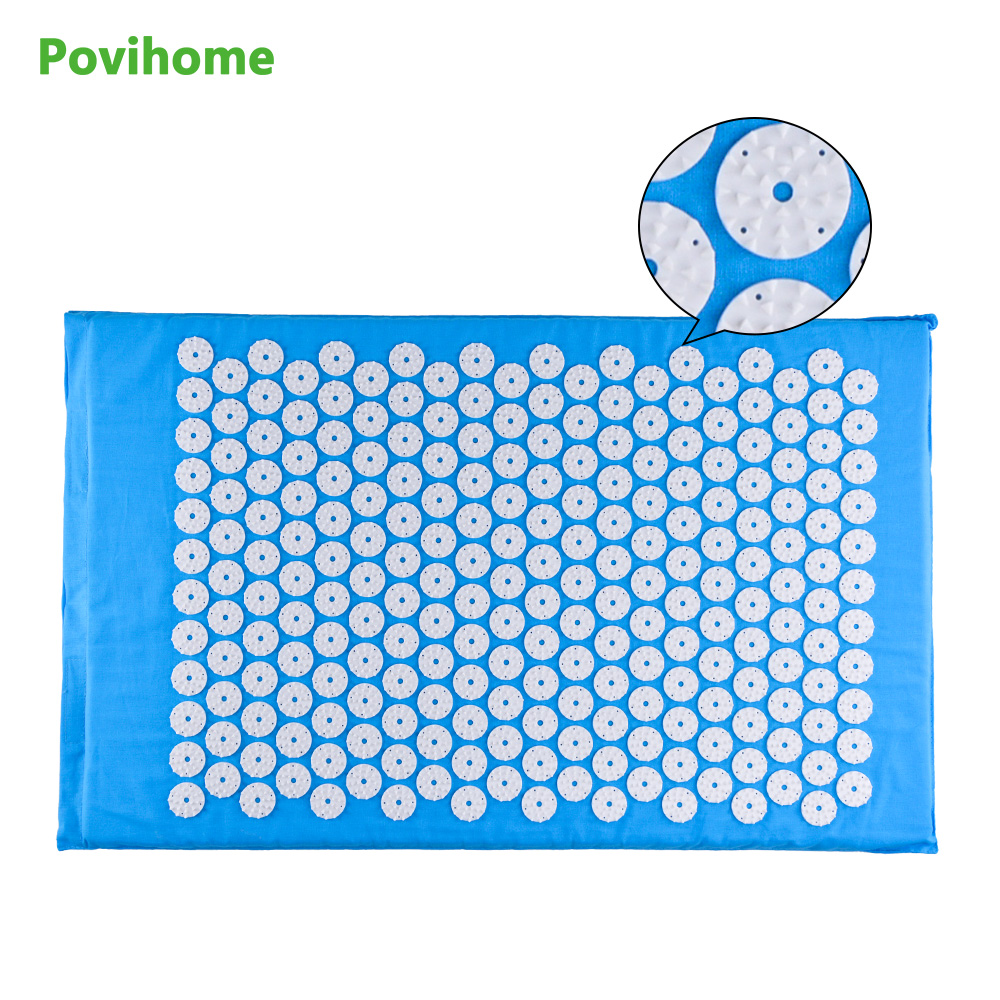 Back Pain Relief Acupuncture Yoga Massager Cushion for Shakti Acupressure Yoga Body Massage Mat (Size appro.68*42cm) Blue C11408 tapping massage cushion 3d new massager whole body massage chair mat for sale