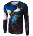 Новое поступление мужчины 3d птицы печатные известная марка майка мужская хлопка с длинным рукавом - рубашки тонкой футболку 14T62