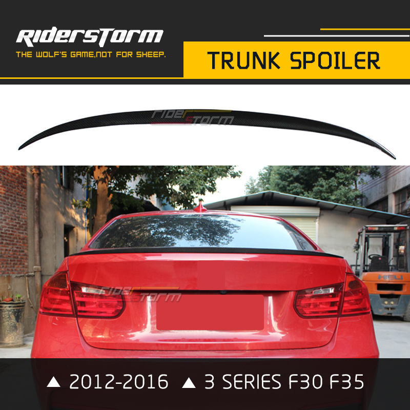 M3 Style Carbon Fiber F30 Trunk Spoiler Rear Wing Lip 320i 328i 335i 326D for BMW 3 Series 2012-2016 Car Styling Accessories for 12 16 bmw 3 series f30 4dr trunk spoiler oem painted match a83 glacier silver