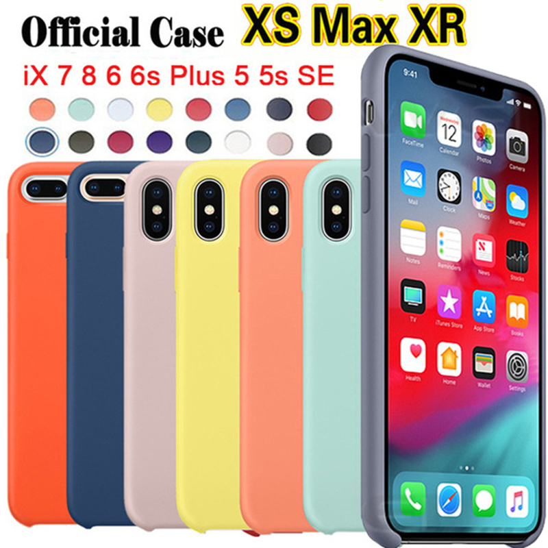 Original Silicone Case Cover For iPhone XS MAX With Logo Phone Fundas Coque Caso Capinha For X XS XR 8 7 6 6s Plus Cases Covers