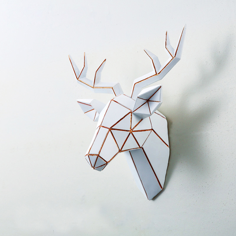 3D Modern Statue Deer Head Sculpture Mural Home Wall Hang Elk Statue Handmade Ornament Artwork Craft