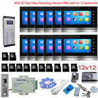 For 12 Apartments Video Recording Intercom Video Intercom With Rfid Lock 8GB 7