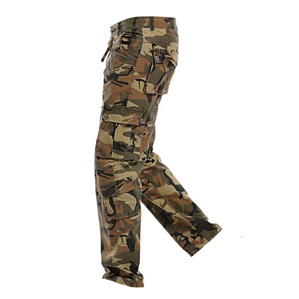 2017 Men's Loose Multi-Pocket Military Army Camouflage Pants Men Casual Cotton Straight Water washed overalls Male Trousers 40