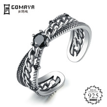 GOMAYA 925 Sterling Silver Clear CZ Ring Adjustable Size For Women Wedding Party Jewelry