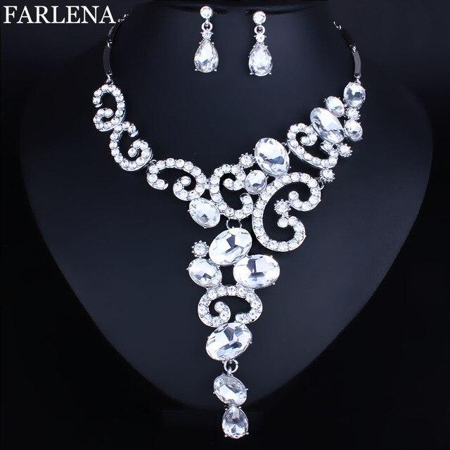 תכשיטים בציפוי כסף קריסטל Rhinestones שרשרת ועגילים סט נשים כלה חתונה תכשיטי סטים