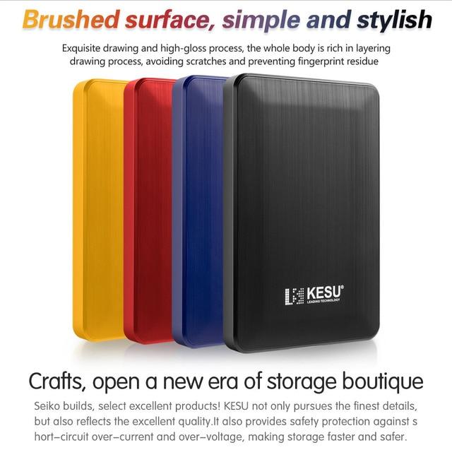 Ốp lưng Kesu 1 TB USB 3.0 bên ngoài Ổ đĩa cứng 2 TB 500G Cao Disco externo HDD USB ban đầu lưu trữ thiết bị dễ thương Ổ USB Flash 120 GB