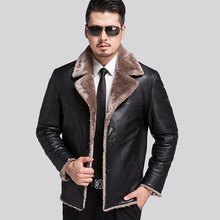 Russian Winter Men's Thick Leather Jacket Casual Leather Men's Fur Coat Male Fashion Men Leather Jacket Chaqueta Cuero Hombre