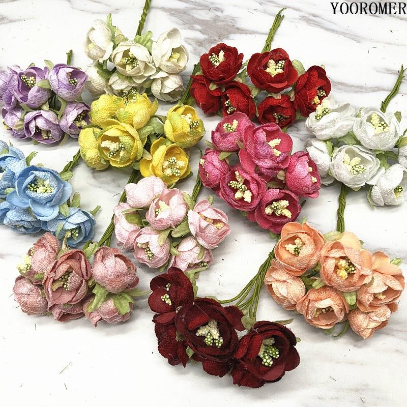 Yooromer 6pcs Mini Silk Stamens Small Tea Bag Bouquet Diy Wreath