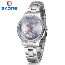 Skone Women Watches Luxury Flower Stainless Steel Wristwatch Lady Fashion Casual Quartz Watch Female Clock Relogio Feminino