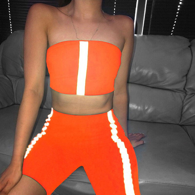 2019 Summer Reflective Stripes Patchwork Sexy Tank Top Shorts 2 Pieces Set Women Fashion Club Party Casual Streetwear