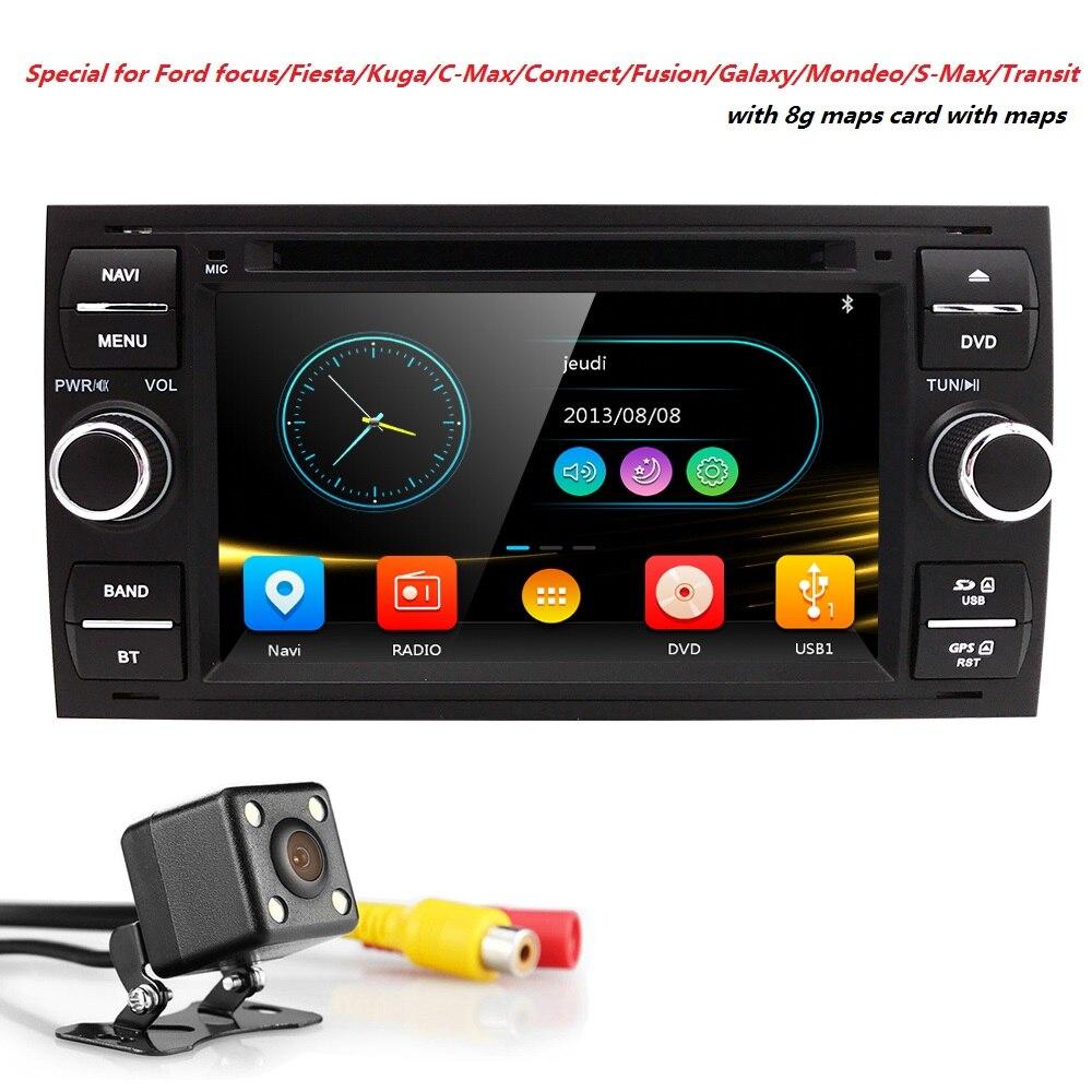 En gros! 2Din 7 Pouces Lecteur DVD de Voiture Pour Ford/Focus/Mondeo/Transit/C-MAX/Fiest Avec GPS Navigation Radio BT 1080 P Ipod FM/AM Carte
