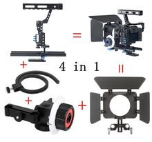 DSLR Video Film Stabilisator Kit 15mm Rod Rig Kamera Käfig + Griff Grip + Follow Focus + Matte Box für für Sony A7 II A6300/GH4 A6500
