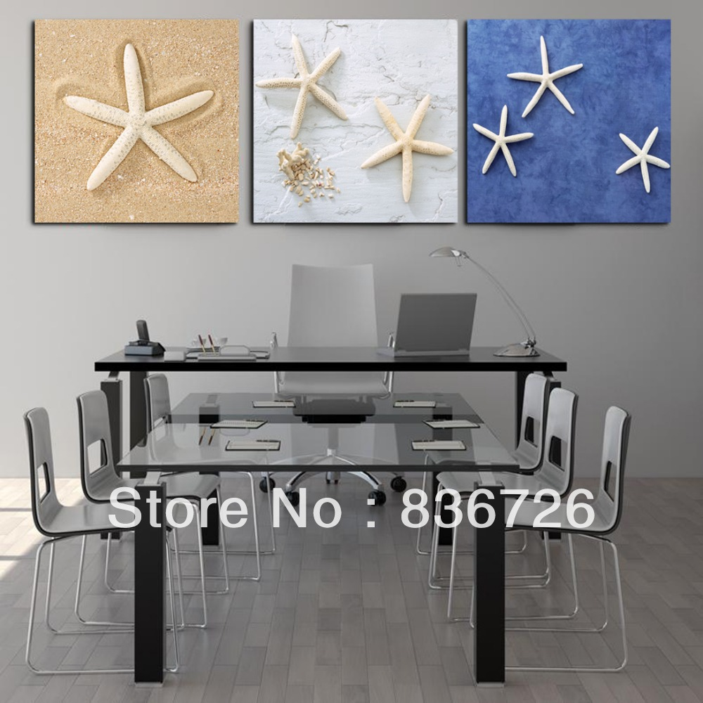 top fashion limited no frame 3 pcs canvas wall art cheap starfish painting unique hanging - Cheap Canvas Wall Art