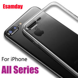 Esamday ясно кремния Мягкие TPU чехол для 7 плюс 8 8 Plus X XS MAX XR Прозрачный чехол для телефона для Iphone 5, 5s, SE 6 6s 6 Plus 6s плюс