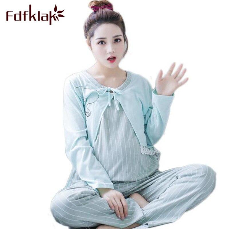 Fdfklak XXL 3XL 4XL Large Size Maternity Nursing Pajamas 2018 Spring Autumn Long Sleeve Cotton Nursing Pijama Sleepwear Sets F73