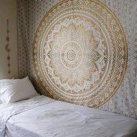 Cilected המנדלה Hippie Boho קיר תלוי שטיח קיר גובלן אמנות גובלן פסים בד רקע תפאורה פוליאסטר חוף שטיח