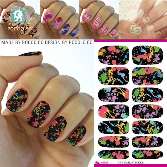 K5628/2015 New Colorful Purple Yellow Flower Nail Art Design Water ...