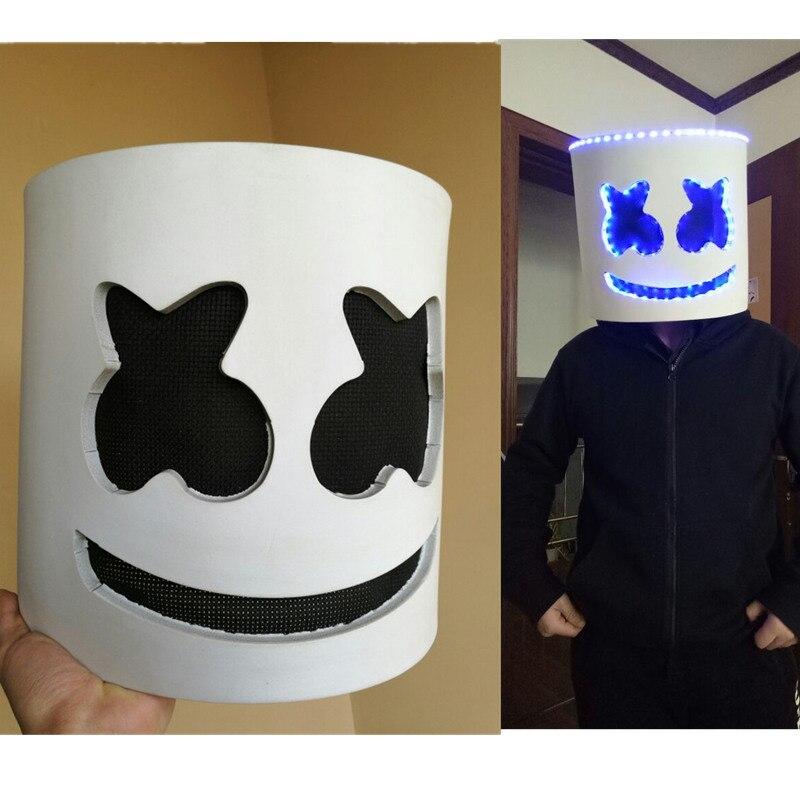 Dj Marshmello maschera cosplay Completa Testa Casco Bar Musica Puntelli di Halloween