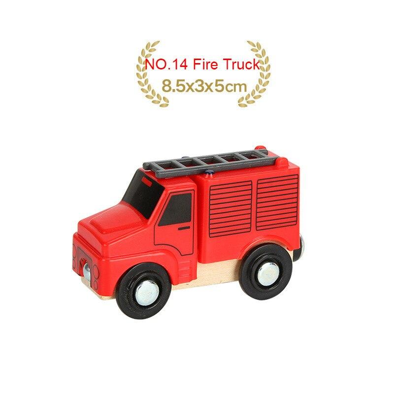 EDWONE деревянный магнитный Поезд Самолет деревянная железная дорога вертолет автомобиль грузовик аксессуары игрушка для детей подходит Дерево Biro треки подарки - Цвет: NO.14 Fire Truck