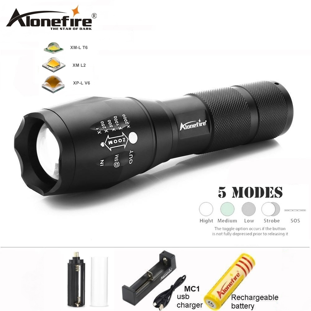 AloneFire E17 led flashlight XML T6 lanterna Aluminum Waterproof Zoom cree Torch linterna led zaklamp 18650 battery USB chargey alonefire e17 led flashlight torch cree xml t6 l2 led lighting 5 modes zoom led camping lamp use aaa 18650 rechargeable battery