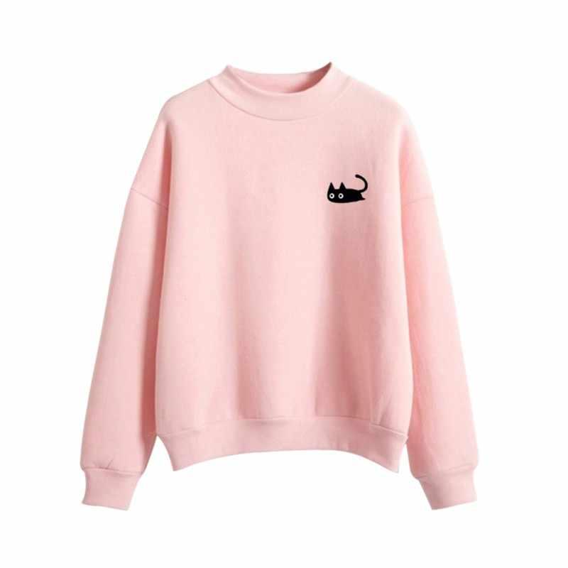 귀여운 고양이 자수 긴 소매 오-넥 멋진 까마귀 얇은 M-XL 가을 운동복 여성 후드 풀오버 여성 2018