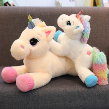 Large Stuffed Animal Baby Dolls Kawaii Cartoon Rainbow Unicorn Plush baby toys Kids Present horse Children Baby Birthday Gift(China)