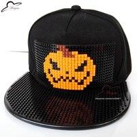 HOT Halloween Pompoen Party Mozaïeken DIY Afneembare Baksteen speelgoed blokken 3D Snapback Cap Basketbal Hiphop Honkbal hoed