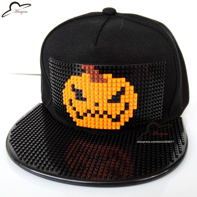 HOT Halloween Pumpkin Party Mosaics DIY Detachable Brick Building toy blocks 3D Snapback Cap Basketball Hip Hop Baseball hat
