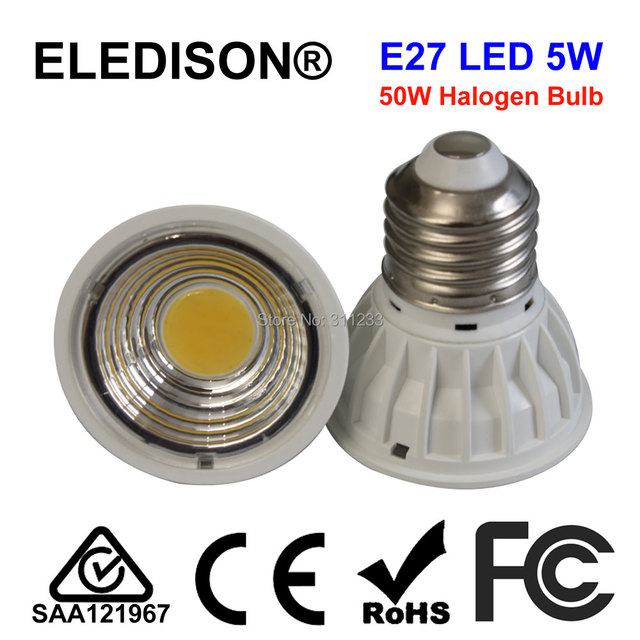 PAR16 E26 E27 LED Lamp 5 W COB 50 W Halogeen Vervanging 90 Graden ...