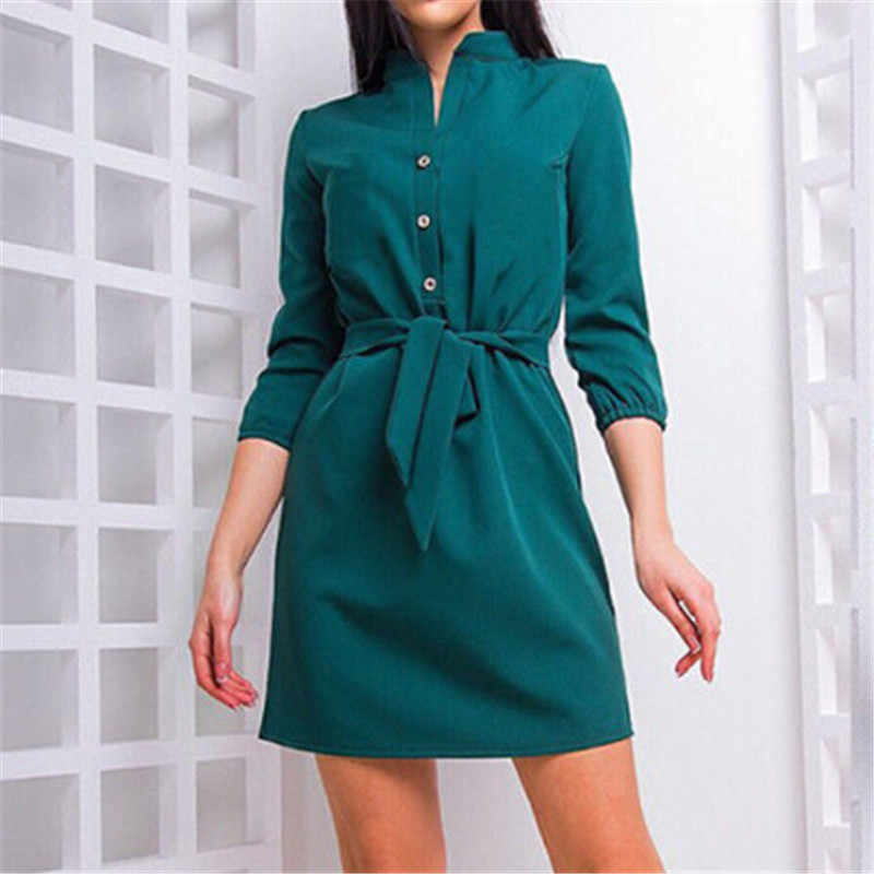 Womens Stand Collar Loose Casual Dress Elegant Women Shirt Waist Band Beach Party Summer Dresses Evening Party Dresses Vestidos