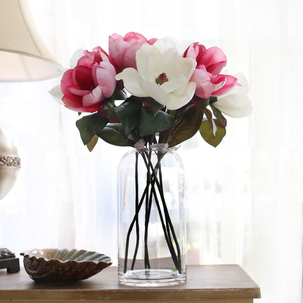 Silk flower arrangements for living room gopelling simulation magnolia artificial flowers silk flower home docor living mightylinksfo