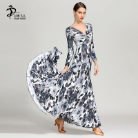 Ink Painting Moden Dance Dress Ballroom Dance Long Skirt Waltz Flamenco Dance Dress Standard Dance Costumes
