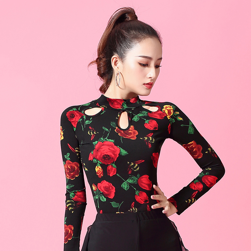 Good Quality Latin Dance Tops Female Sexy Flower Performance Dancing Shirt Ballroom Cha Cha Samba Practice Dance Clothes DL3630