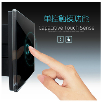 Touch Switch 1 gang 1 Way Black Waterproof Crystal Glass Wall Switches Electrical,EU UK Touch Button Light Switch VL-C301-62