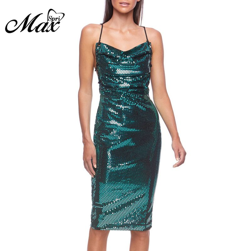 Max Spri 2019 New Fashion Women Sexy Spaghetti Straps Sleeveless Sequins Strappy Ruched Party Club Sparkling Midi Dress in Dresses from Women 39 s Clothing