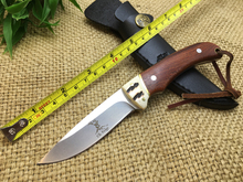 New Wood Hunting Elk Ridge Fixed Knife 7Cr17Mov Blade Outdoor Tactical Knife Utility Camping Survival Knife EDC Tools Leather