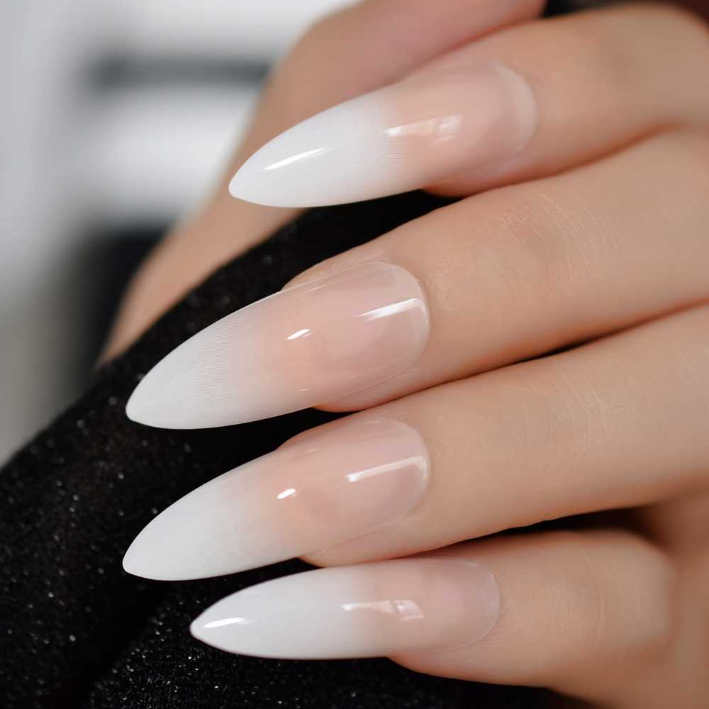 Gradeint Natural Nude Pink Stiletto False Fake Nails Ombre French Extra Long Pointed Salon Press On Wear Uv Nail Art Tips